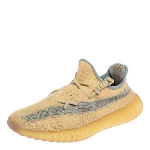 Yeezy x adidas Light Beige Knit Fabric Boost 350 V2 Linen Sneakers Size 40