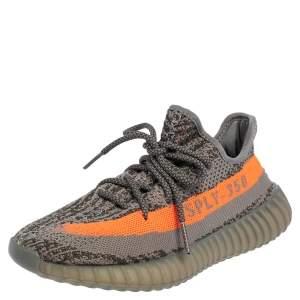 Yeezy x adidas Grey/Orange Knit Fabric Boost 350 V2 Beluga Sneakers Size 38