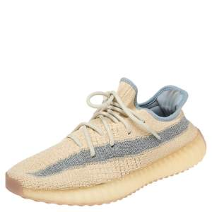 Yeezy x Adidas Beige/Grey Knit Fabric Boost 350 V2 Linen Sneakers Size 40 2/3