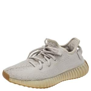 Yeezy x adidas Grey Knit Fabric Boost 350 V2 Sesame Sneakers Size 36