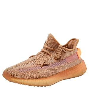 Yeezy x adidas Beige Knit Fabric Boost 350 V2 Clay Low Top Sneakers Size 37 1/3