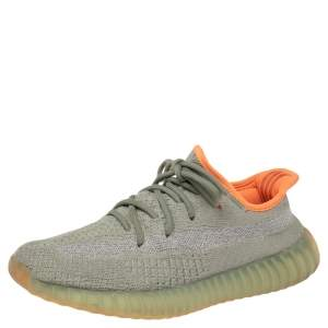 Yeezy x Adidas Green/Grey Cotton Knit Fabric Boost 350 V2 Desert Sage Sneakers Size 39 1/3
