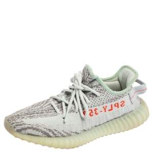 Yeezy x adidas Blue/Grey Knit Fabric Boost 350 V2 2.0 Sneakers Size 39.5