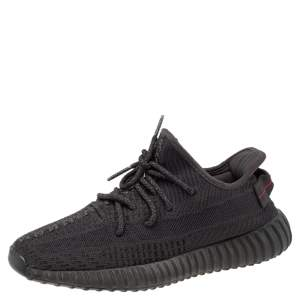 Yeezy x adidas Black Knit Fabric Boost 350 V2 Low Top Sneakers Size 40