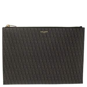 Saint Laurent Brown Coated Canvas Monogram Zip Pouch
