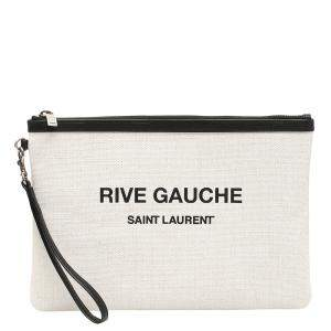 Saint Laurent Beige Rive Gauche Clutch Bag
