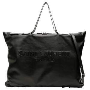 Saint Laurent Black Leather Logo Maxi Tote Bag