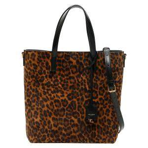 Saint Laurent Leopard Suede North/South Toy Shopping Bag