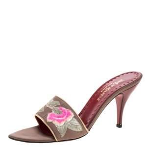 Yves Saint Laurent Vintage Beige Embroidered Satin Open Toe Sandals Size 38.5