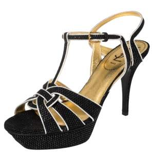 Yves Saint Laurent Black/Silver Textured Suede And Leather Tribute Platform Ankle Strap Sandals Size 39.5