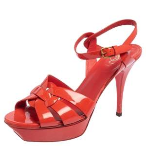 Yves Saint Laurent Coral Red Patent Leather Tribute Platform Sandals Size 40