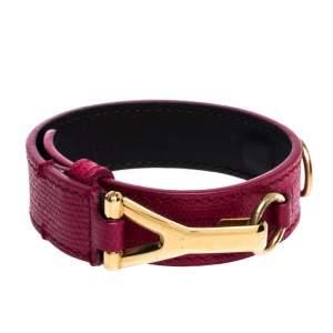 Yves Saint Laurent Pink Leather Gold Tone Y Hook Bracelet