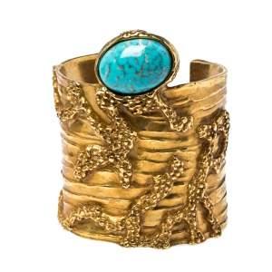 Yves Saint Laurent Turquoise Glass Cabochon Gold Tone Arty Bracelet M