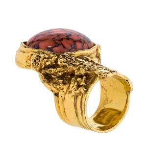 Yves Saint Laurent Arty Glass Cabochon Gold Tone Cocktail Ring Size 6
