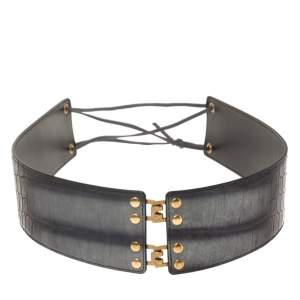 Yves Saint Laurent Grey/Black Croc Embossed Leather Waist Belt S