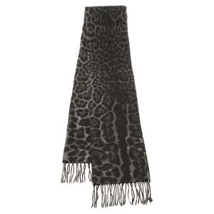 Yves Saint Laurent Grey Leopard Patterned Cashmere Wool Scarf