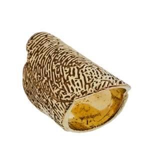 Yves Saint Laurent Embossed Fingerprint Gold Tone Ring 52