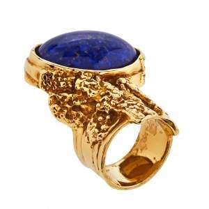 Yves Saint Laurent Blue Cabochon Arty Cocktail Ring Size EU 49