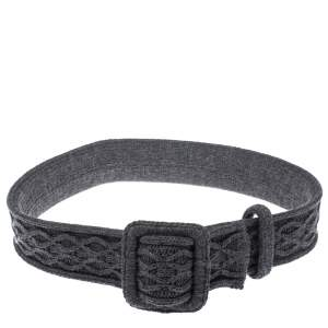 Yves Saint Laurent Grey Knitted Waist Belt 85CM