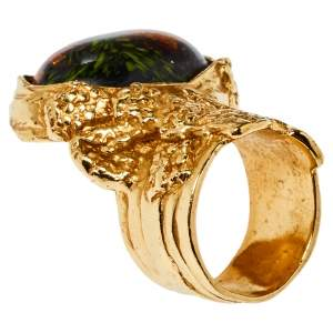 Yves Saint Laurent Black Cabochon Ovale Arty Ring Size EU 57