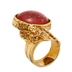 Yves Saint Laurent Red Glass Cabochon Arty Ring Size EU 57