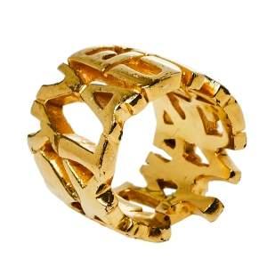 Yves Saint Laurent Vintage Gold Tone Logo Band Ring Size EU 52