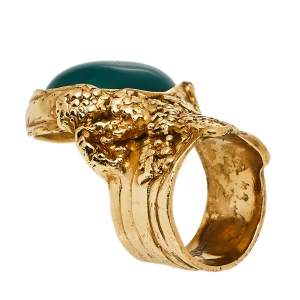 Yves Saint Laurent Green Cabochon Arty Ring Size 7