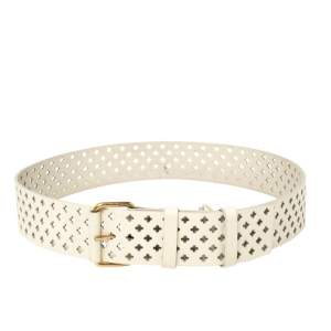 Yves Saint Laurent White Perforated Patent Leather Buckle Belt 90CM