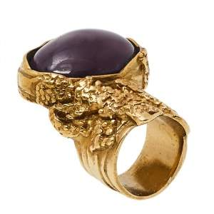 Yves Saint Laurent Purple Glass Cabochon Arty Oval Ring Size 5