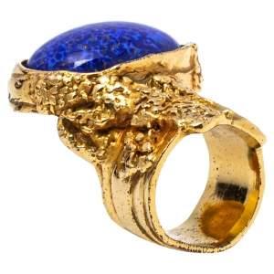Yves Saint Laurent Blue Cabochon Arty Cocktail Ring Size EU 53