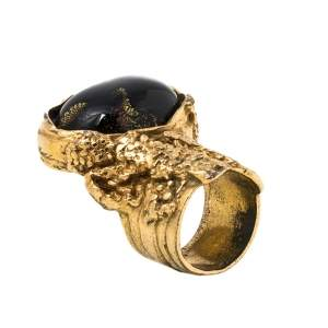 Yves Saint Laurent Black Cabochon Arty Cocktail Ring Size EU 49