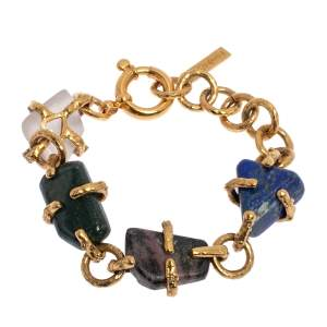 Yves Saint Laurent Tumbled Stone Gold Tone Chunky Bracelet