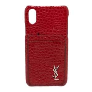 Saint Laurent Paris Red Croc Embossed Leather iPhone XS Max Case