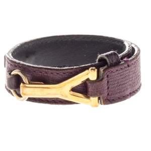 Yves Saint Laurent Purple Leather Gold Tone Y Hook Bracelet