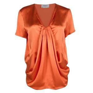 Yves Saint Laurent Orange Silk Draped Front Short Sleeve Blouse M