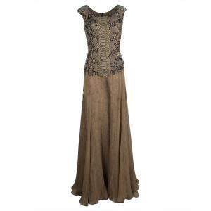 Yves Saint Laurent Snakeskin Printed Silk Layered Embellished Sleeveless Gown S