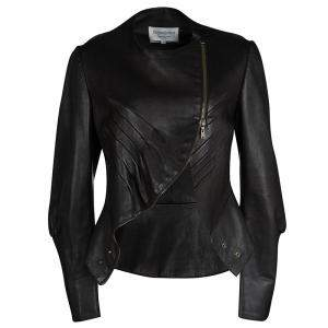 Yves Saint Laurent Hiver'08 Dark Brown Leather Asymmetric Zip Front Jacket M
