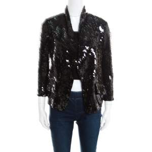 Yves Saint Laurent Black Sequin Paillette Embellished Single Button Blazer S