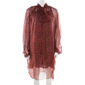 Yves Saint Laurent Red Printed Silk Chiffon Neck Tie Detail Long Sleeve Dress L