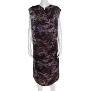 Yves Saint Laurent Paris Black Printed Satin Tie Detail Dress S