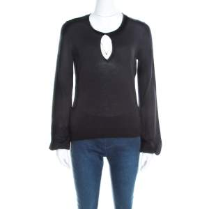 Yves Saint Laurent Black Wool Keyhole Neck Long Sleeve Sweater M