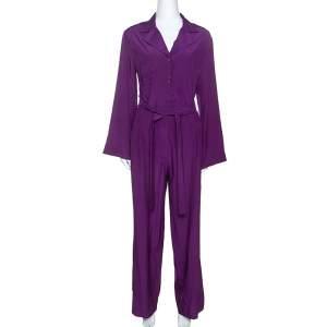 Yves Saint Laurent Purple Silk Pajama Jumpsuit M