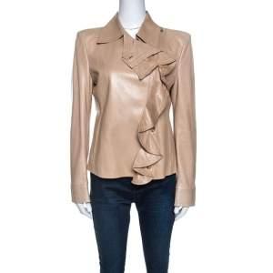 Yves Saint Laurent Beige Leather Ruffle Detail Jacket L