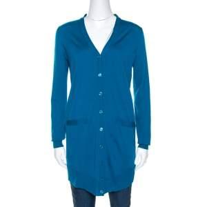 Yves Saint Laurent Blue Wool Button Front Cardigan S