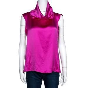 Yves Saint Laurent Fuschia Pink Silk Cowl Neck Top M