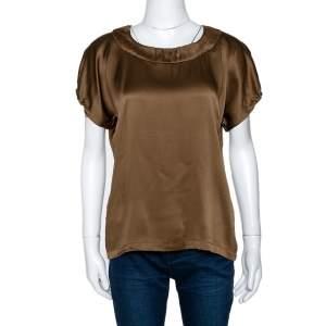 Yves Saint Laurent Brown Silk Satin Short Sleeve Top M