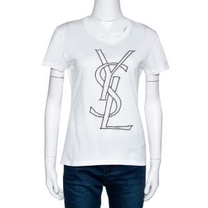 Yves Saint Laurent White Logo Embroidered Cotton Fitted T-Shirt L