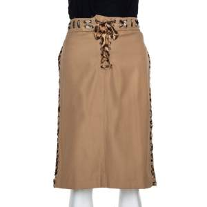 Yves Saint Laurent Tan Cotton Leopard Print Trim Pencil Skirt L
