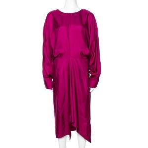Yves Saint Laurent Magenta Silk Draped Dress M