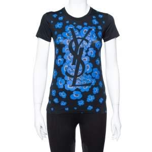 Yves Saint Laurent Black Floral Logo Print Cotton T-Shirt S